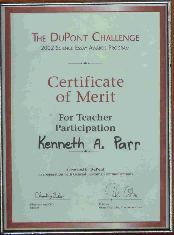 Certificate of Merit for teacher participation