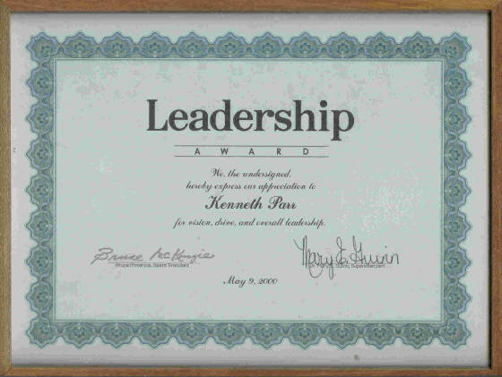 Leadership award from schools superintendent